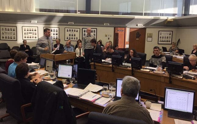 Rod Sage, the city's general manager of operational services, presents to council on Friday. The gallery is filled with department managers who are scheduled to speak about their respective 2017 budgets. (Jillian Austin/The Brandon Sun)