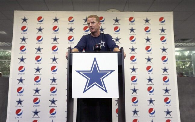 Dallas Cowboys NFL football head coach Jason Garrett speaks about the signing of Michael Sam to the Cowboys practice squad during a news conference at the team's headquarters Wednesday, Sept. 3, 2014, in Irving, Texas. (AP Photo/LM Otero)