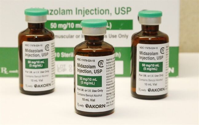 This Friday, July 25, 2014 photo shows bottles of the sedative midazolam at a hospital pharmacy in Oklahoma City. Oklahoma's current protocol allows for five different lethal injection drug combinations, including two that use midazolam. A third botched execution in 2014 involved this sedative. (AP Photo)