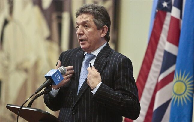 Ukraine's U.N. Ambassador Yuriy Sergeyev speaks during a news conference, as the the U.N. Security Council meets privately on Friday, Feb. 28, 2014, at United Nation headquarters. Sergeyev told reporters Friday outside the council that neither major airport in Crimea is under national control and that the main airport was
