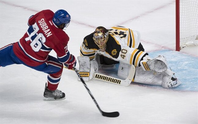 Montreal Canadiens' P.K. Subban scores past Boston Bruins goalie Tuukka Rask during first period NHL playoff hockey action Tuesday, May 6, 2014 in Montreal. THE CANADIAN PRESS/Paul Chiasson