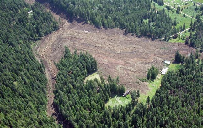 The Johnson's Landing, B.C. landslide is pictured on July 12, 2012. THE CANADIAN PRESS/HO, Emergency BC