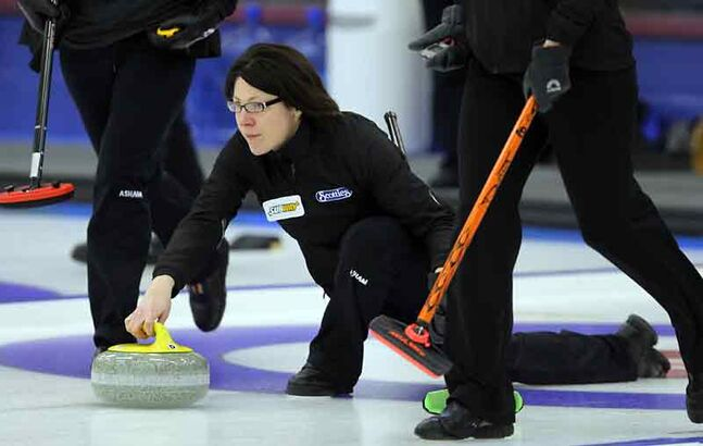 Liza Park delivers a shot during the final of the Brandon Ladies Bonspiel against Kristen Phillips at the Brandon Curling Club on Sunday afternoon.
