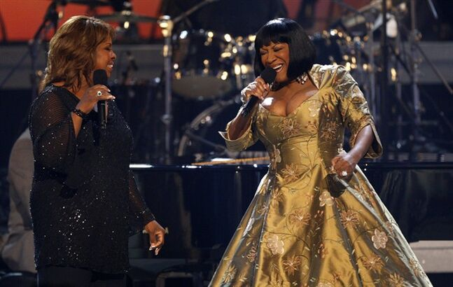 FILE - In this Tuesday, June 26, 2007, file photo, Gladys Knight, left, and Patti LaBelle perform during the Gerald Levert Tribute at the 7th annual BET Awards in Los Angeles. Producers of the show that celebrates Duke Ellington's years at the Cotton Club say that Patti LaBelle, Gladys Knight and Natalie Cole will take turns as special guest stars during the summer of 2104. (AP Photo/Kevork Djansezian, File)