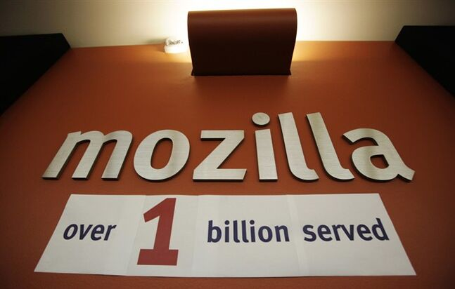 A celebration sign is posted at Mozilla headquarters in Mountain View, Calif., July 31, 2009. THE CANADIAN PRESS/AP, Paul Sakuma