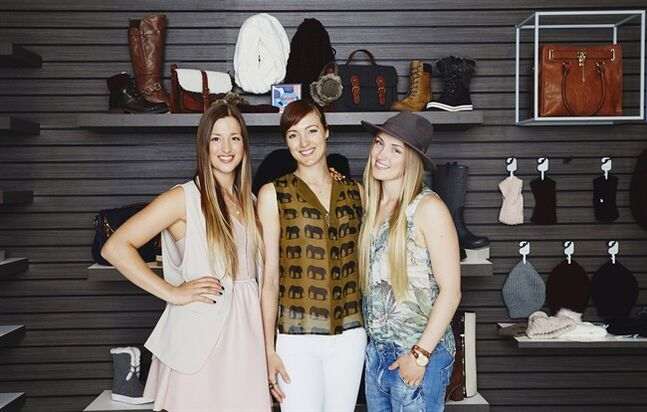 Canadian freestyle skiiers (from left): Chloe, Maxime and Justine Dufour-Lapointe pose with items from their Apres-Ski collection for Call It Spring in this undated handout photo. The trio curated the collection for the footwear and accessories retailer. THE CANADIAN PRESS/HO, Call It Spring
