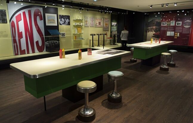 Counters and stools are seen at Bens, The Legendary Deli, an exhibit on the legendary Montreal Bens Delicatessen Tuesday, June 17, 2014 in Montreal. THE CANADIAN PRESS/Paul Chiasson