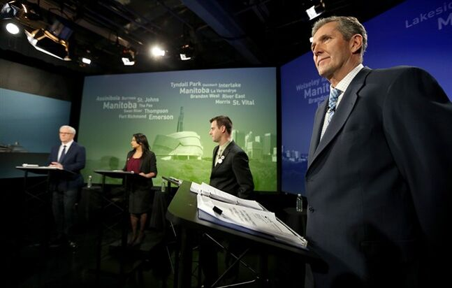 NDP Leader Greg Selinger, left to right, Liberal Leader Rana Bokhari, Green Party Leader James Beddome and Progressive Conservative Leader Brian Pallister take part in the provincial leaders' debate in Winnipeg on Tuesday, April 12, 2016. One of Canada's two remaining NDP governments finds itself on the ropes as it heads into an election Tuesday with polls suggesting Manitoba voters are ready to turn to the Progressive Conservatives. THE CANADIAN PRESS/Trevor Hagan