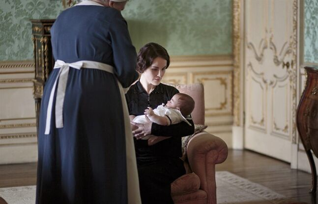 This photo released by PBS and Carnival Film and Television Limited shows Michelle Dockery as Lady Mary in a scene from season four of the Masterpiece TV series,