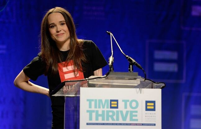 Actress Ellen Page comes out as gay at the Human Rights Campaign's Time to Thrive Conference, on Friday, February, 14, 2014 in Las Vegas. THE CANADIAN PRESS/AP,HO Jeff Bottari