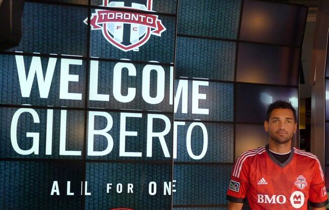 Brazilian forward Gilberto is presented as a new signing with the Toronto FC in Toronto on Friday December 13, 2013. THE CANADIAN PRESS/Neil Davidson
