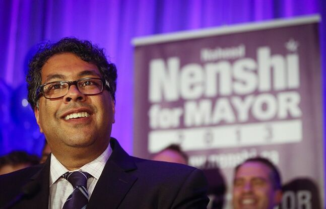 Calgary Mayor Naheed Nenshi celebrates his re-election in Calgary, on Oct. 21, 2013. Nenshi has been invited to take part in an international leaders program in the United Kingdom. THE CANADIAN PRESS/Jeff McIntosh