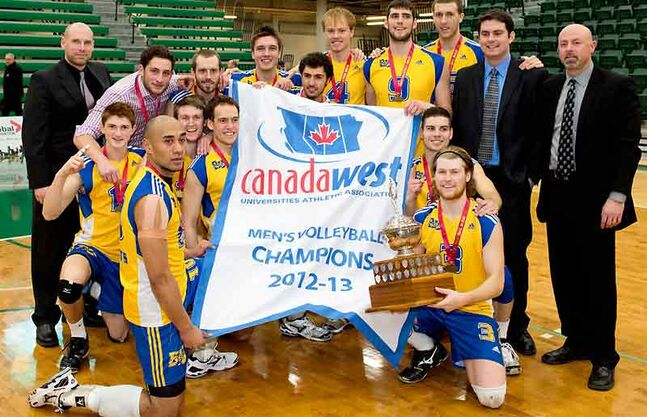 The Brandon University men's volleyball team celebrate their Canada West championship in Edmonton. It is Brandon University's first volleyball banner.