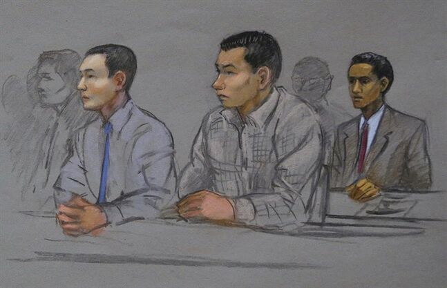 FILE - In this May 13, 2014 file courtroom sketch, defendant Azamat Tazhayakov, a college friend of Boston Marathon bombing suspect Dzhokhar Tsarnaev, sits during a hearing in federal court in Boston. A lawyer for Tazhayakov said Monday, June 23, 2014, that prosecutors offered him a deal to plead to reduced charges, but he turned it down. Tazhayakov is accused with another friend of removing items from Tsarnaev's dorm room. (AP Photo/Jane Flavell Collins, File)
