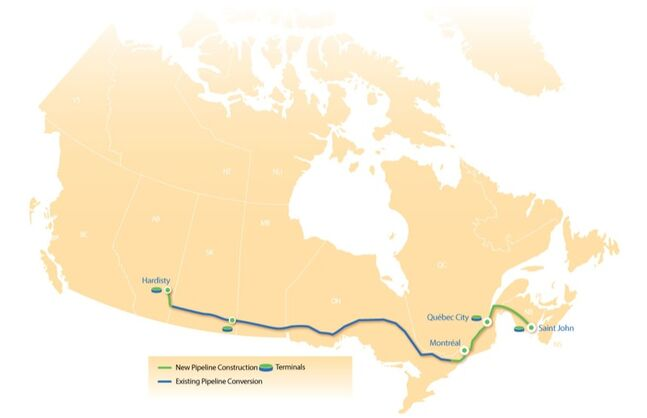 TransCanada wants to convert approximately 3,000 kilometres of natural gas pipeline on its existing mainline route, plus build an additional 1,400 kilometres of new pipeline to carry crude oil from Western Canada to eastern markets.