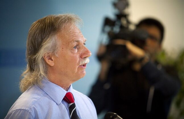 British Columbia Teachers' Federation President Jim Iker announces a full-scale strike for school teachers is set for Tuesday, June 17 during a press conference in Vancouver, B.C. on Thursday.