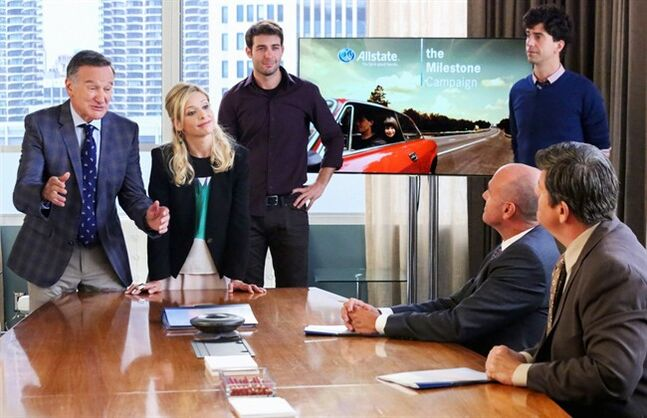 "This photo released by CBS shows, from left, Robin Williams as Simon Roberts, Sarah Michelle Gellar as Sydney Roberts, James Wolk as Zach Cropper and Hamish Linklater as Andrew Keaneally, in a scene from ""The Crazy Ones."