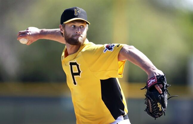 Pittsburgh Pirates relief pitcher Chris Leroux throws during a baseball spring training workout on Sunday, Feb. 17, 2013, in Bradenton, Fla. Canada has named its three starting pitchers for the first round of the World Baseball Classic. Baseball Canada's Greg Hamilton says Leroux, Shawn Hill and Scott Mathieson will take the mound next week against Italy, Mexico and the United States. THE CANADIAN PRESS/AP/Charlie Neibergall