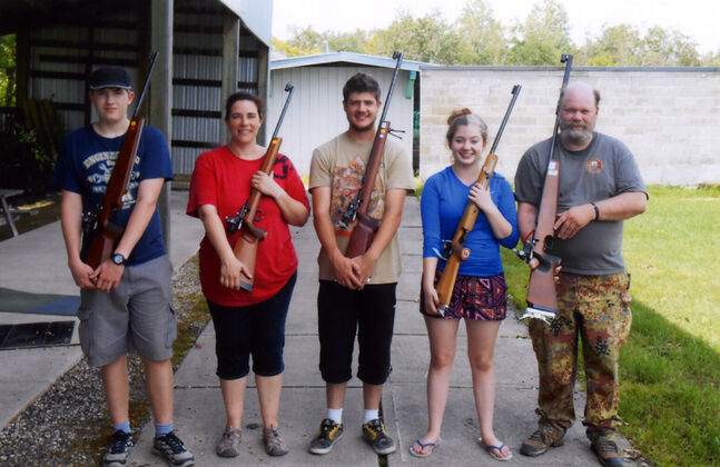 From left to right: Brandon Wildlife Junior Rifle Club members Jarrod Hodinott, Debbie Hodinott, Lukas Knipping, Katharina Knipping and Michael Knipping all earned medals at provincials.