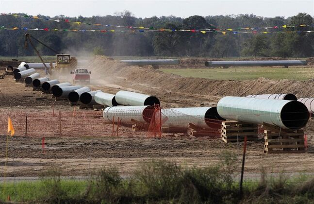 In this Oct. 4, 2012 photo, large sections of a TransCanada pipeline are shown in Sumner Texas. THE CANADIAN PRESS/AP, Tony Gutierrez