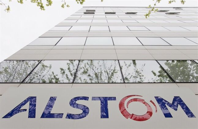 An Alstom sign is pictured at the headquarters THE CANADIAN PRESS/AP, Jacques Brinon