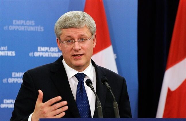 Prime Minister Stephen Harper speaks to media and guests about infrastructure funding at the Whitchurch-Stouffville Museum & Community Centre in Gormley, Ont., Thursday, February 13, 2014. THE CANADIAN PRESS/Galit Rodan