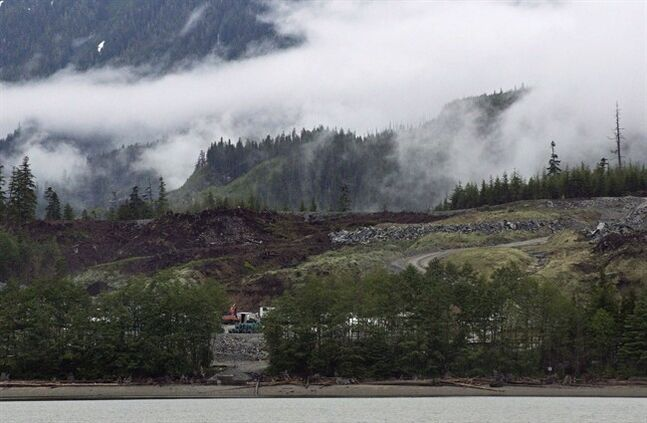 Heavy equipment can be seen working on the Kitimat Liquified Natural Gas project at Bish Cove, Douglas Channel, on June 27, 2012. THE CANADIAN PRESS/Robin Rowland