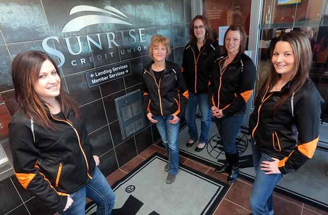 Sunrise Credit Union's Michelle Bernard, Kim Kunka, Brittany Hainsworth, Melorie Broten and Megan Bellow are able to help Westman residents with RRSP contributions at their 18th Street location.
