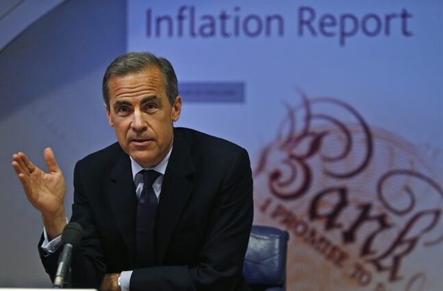 Mark Carney, the Governor of the Bank of England, talks, during a news conference to present the UK Quarterly Inflation Report, in central London, Wednesday, May 14, 2014. The Bank of England dampened expectations that interest rates in the U.K. will be raised imminently as Governor Mark Carney said the country's economy has only begun heading back to normal. While unveiling the bank's quarterly economic projections Wednesday, Carney was cautious, noting that despite positive news _ including a drop in the unemployment rate to its lowest level in five years _ progress must be made in closing the level of