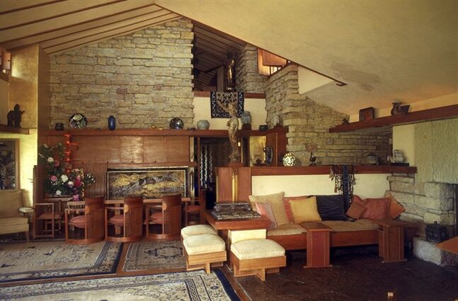 This undated photo released by the Taliesin Preservation Inc., shows the living room of Taliesin in Spring Green, Wis. The Frank Lloyd Wright School of Architecture's quest for a way to keep its accreditation status has some school board members at odds with the foundation operating it. Last week, the Scottsdale-based Frank Lloyd Wright Foundation announced it would not spin off the school into an independent corporation as a way to abide by new standards to gain accreditation. That decision has shaken the school's Board of Governors, who say that could mean the program would eventually become a shell of itself. (AP Photo/Taliesin Preservation Inc.) NO SALES