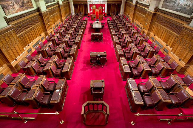 The Senate chamber on Parliament Hill is seen in Ottawa.