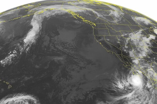 This NOAA satellite image taken Friday, September 05, 2014 at 02:00 AM EDT shows Hurricane Norbert over the southern tip of the Baja Peninsula. Rain showers with a few thunderstorms have developed along a frontal boundary across the Four Corners and into the Central Plains. (AP PHOTO/WEATHER UNDERGROUND)