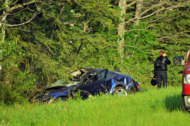 A Dauphin man was killed after a 2007 Chevrolet Cobalt SS rolled in a ditch along Highway 10 in Riding Mountain National Park on Monday evening.