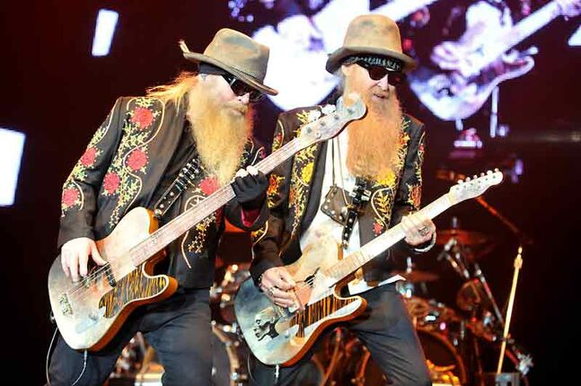 Dusty Hill, left, and Billy Gibbons of ZZ Top on stage during their summer tour. The band will perform in Westman Place at the Keystone Centre on March 12.