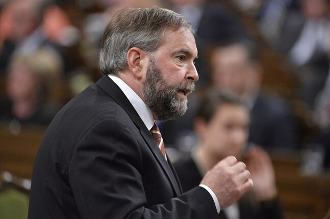 NDP Leader Tom Mulcair asks a question during Question Period in the House of Commons on Parliament Hill in Ottawa, Tuesday May 27, 2014 . THE CANADIAN PRESS/Adrian Wyld