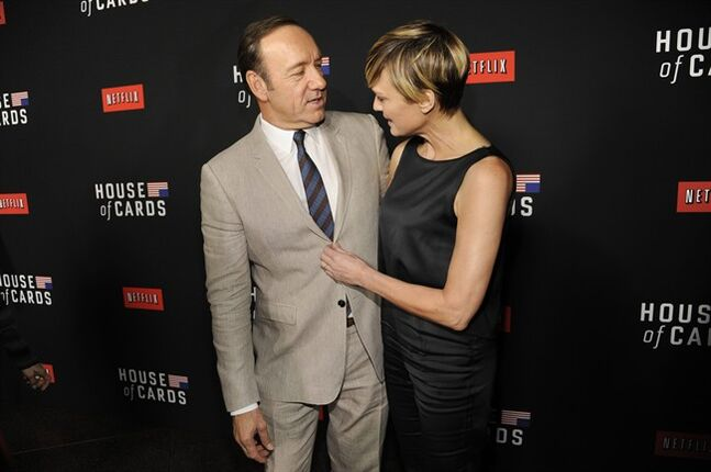 Kevin Spacey, left, and Robin Wright arrive at a special screening for season 2 of