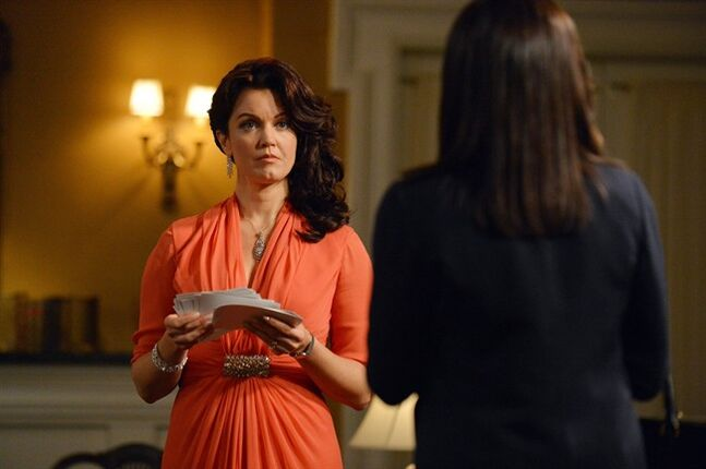 This photo released by ABC shows, Bellamy Young, left, as Mellie Grant, and Kerry Washington, as Olivia Pope, in an episode