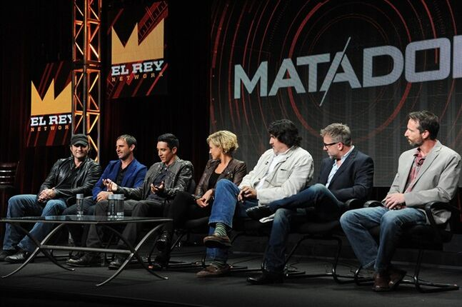 El Rey Founder/Director Robert Rodriguez, Creator/Executive Producer Roberto Orci, actors Gabriel Luna, Nicky Whelan, Alfred Molina, Creator/Executive Producer Jay Beattie and Creator/Executive Producer Dan Dworkin onstage during the