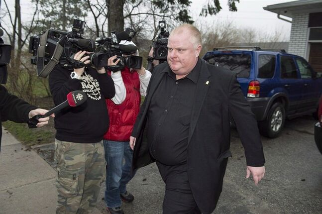 Toronto Mayor Rob Ford leave his home in Toronto, early Thursday, May 1, 2014. Ford is set to leave rehab Monday, returning to the intense public glare from which he has been relatively absent for two months since he was forced to seek help amid fresh allegations of drinking and drug use. THE CANADIAN PRESS/Frank Gunn