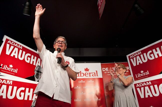 Ontario Premier Kathleen Wynne (right) joins Federal Liberal Trinity-Spadina by-election candidate Adam Vaughan at a rally at Vaughan's campaign office in Toronto, Saturday, June 28, 2014. THE CANADIAN PRESS/Galit Rodan