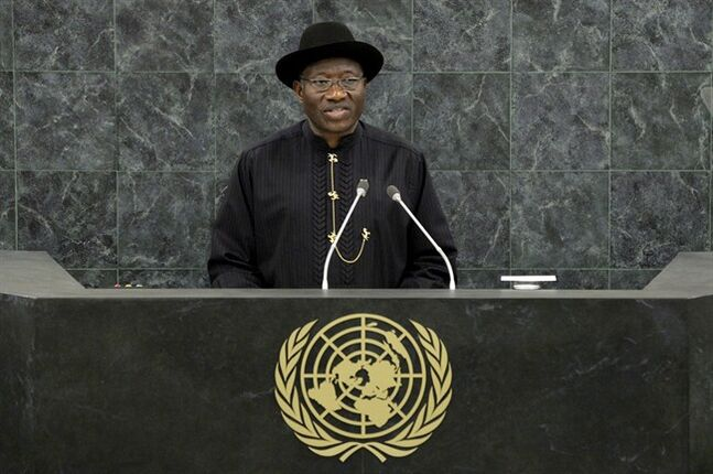 Nigerian President Goodluck Jonathan speaks at the United Nations Sept. 24, 2013 at U.N. headquarters. THE CANADIAN PRESS/AP, Andrew Burton