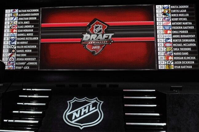 The NHL hockey draft board is complete at the end of the first round at Prudential Center, Sunday, June 30, 2013, in Newark, N.J. THE CANADIAN PRESS/AP/Bill Kostroun
