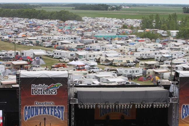 The Countryfest main stage looms over the campground in this file photo.