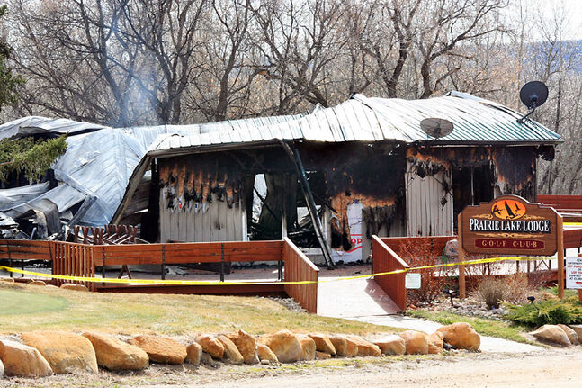Smoke rises from the Prairie Lake Lodge on Monday, one day after a fire devastated the clubhouse. The lodge is located 10 kilometres north of Inglis between Russell and Roblin.