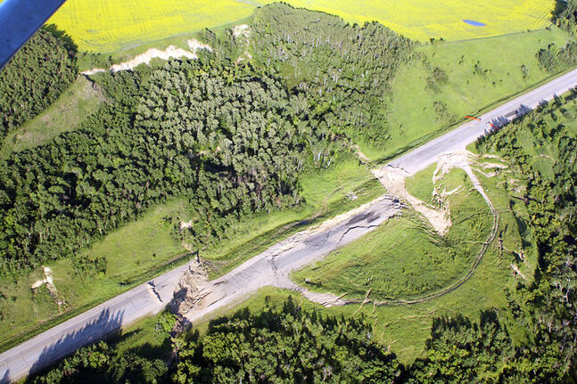 An aerial view of the Highway 83 landslide.