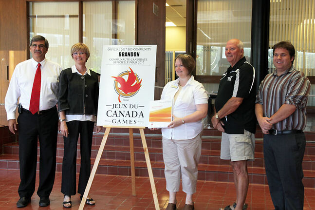 Brandon 2017 Canada Games Bid Committee members (from left to right) Jeff Cristall, Mayor Shari Decter Hirst, Erin Brown, Bernie Chrisp and Jeremy Lancaster take part in a press conference on Friday at Brandon City Hall.