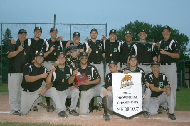 The Brandon Cloverleafs won the Manitoba Senior Baseball League championship series with a 4-1 win in Game 5 over the Neepawa Farmers last night in Neepawa. It's the fifth time in seven years the Cloverleafs have won the title.  (Charles Tweed/Brandon Sun)