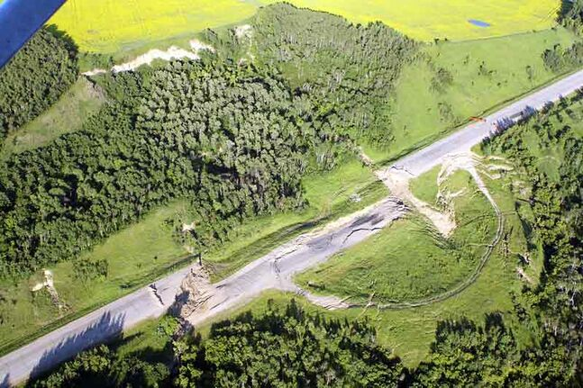 An aerial view of the Highway 83 collapse near Inglis is shown earlier this year.