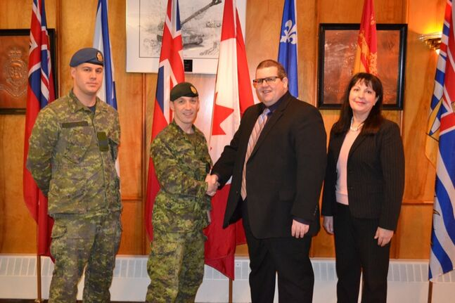 From left: Lieutenant Cart Noonan; Lieutenant-Colonel Richard Goodyear, CFB Shilo Base Commander; Mark Frison, ACC President; Diane Shamray, ACC Vice-President, Enterprise Development.