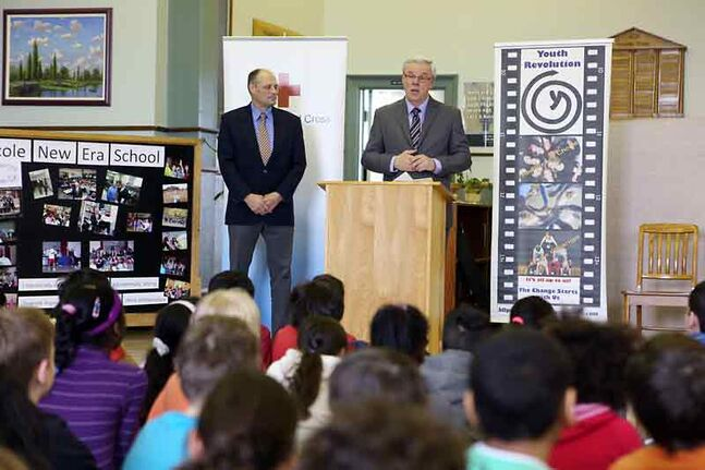 Premier Greg Selinger speaks to Grade 3 and 4 students at École New Era School on Tuesday while announcing provincial funding for the Canadian Red Cross' Beyond the Hurt anti-bullying program.